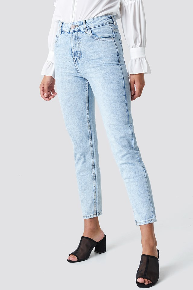 Cropped Mom Jeans Open Blue