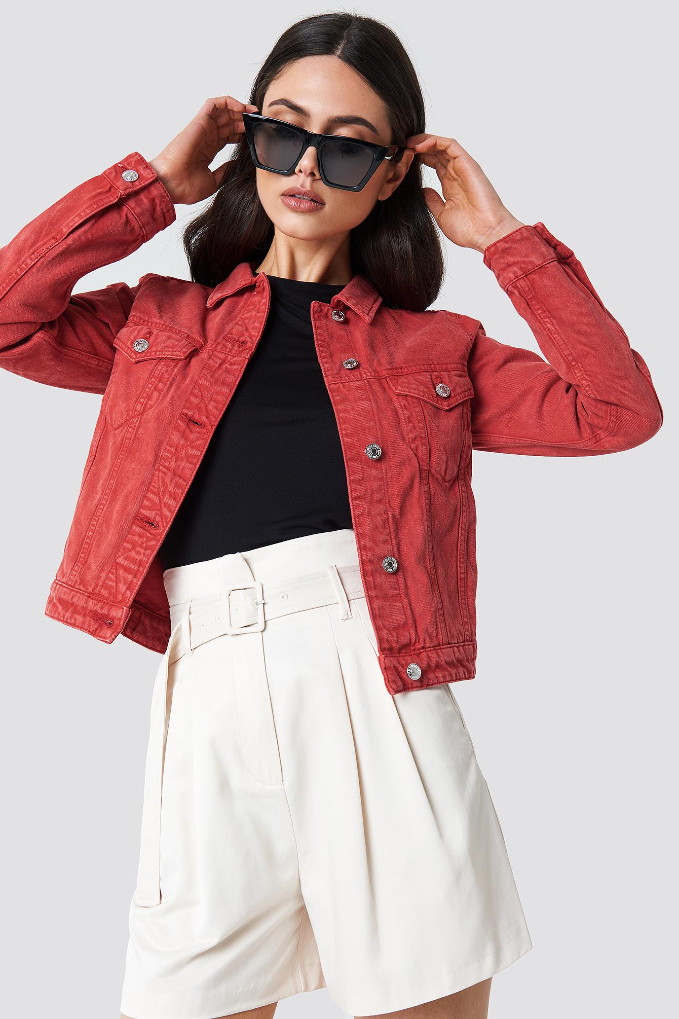 Denim Jacket Röd | na