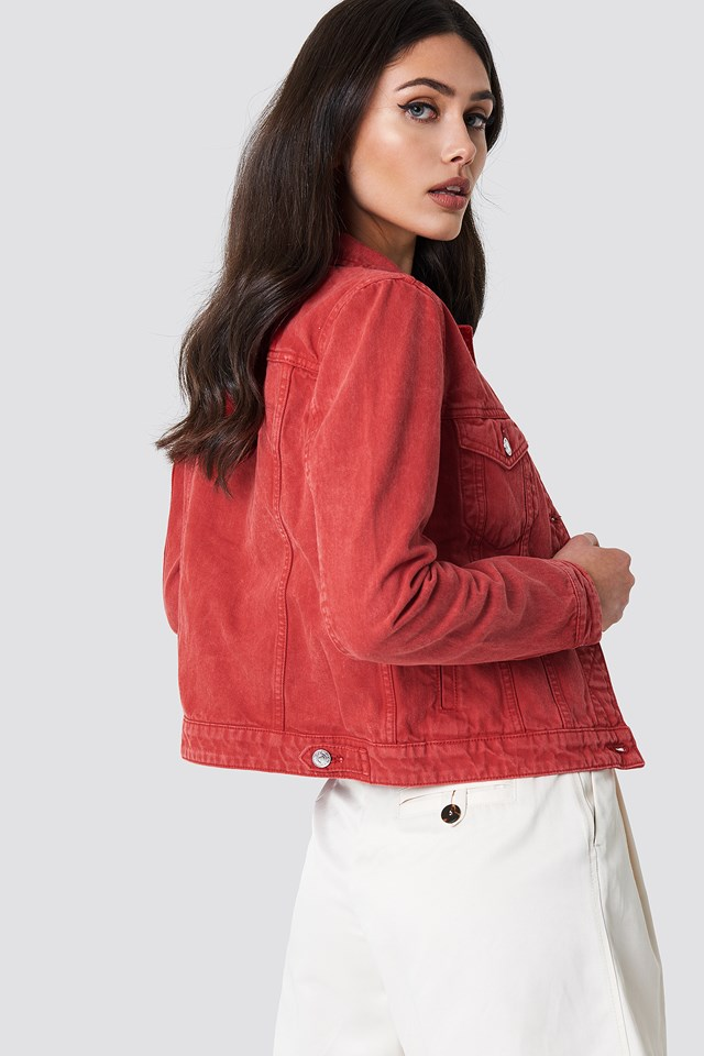 Pocketed Denim Jacket Red