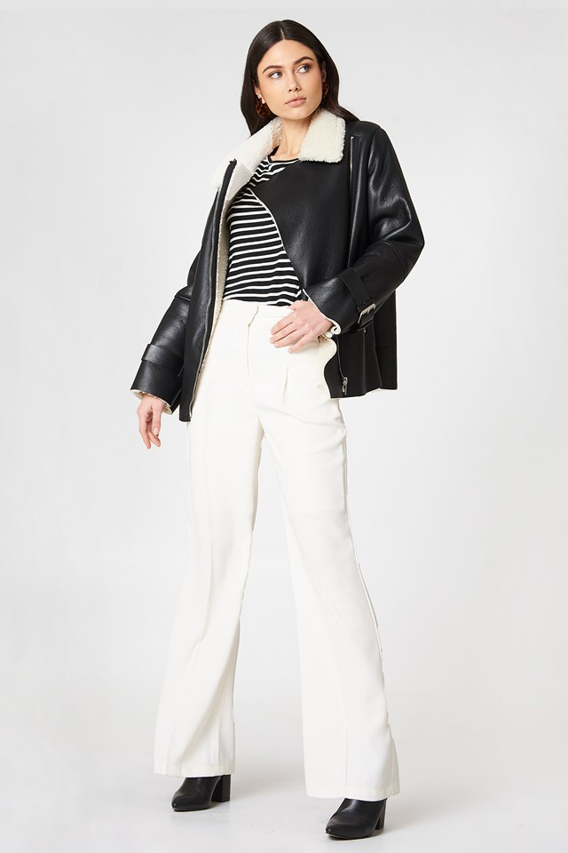 Faux Shearling-Lined Biker Jacket Black