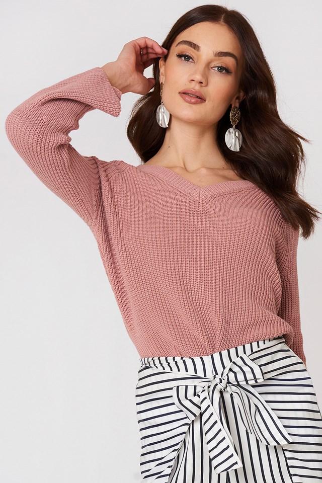 Flared Sleeve Ribbed Jumper Pink