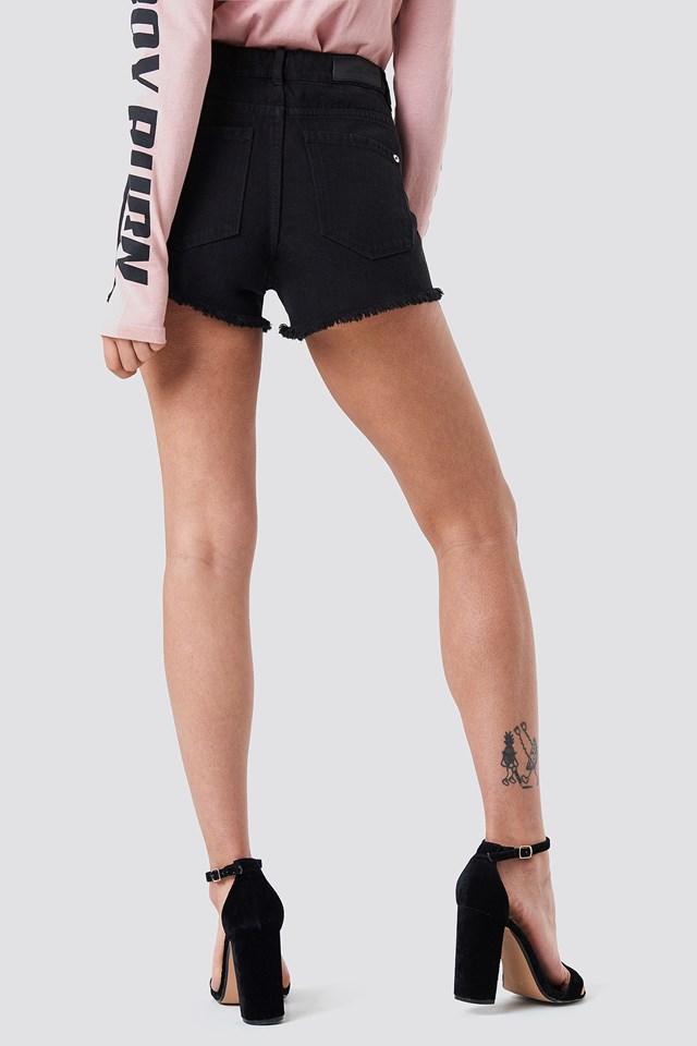 Fray Denim Shorts Open Grey