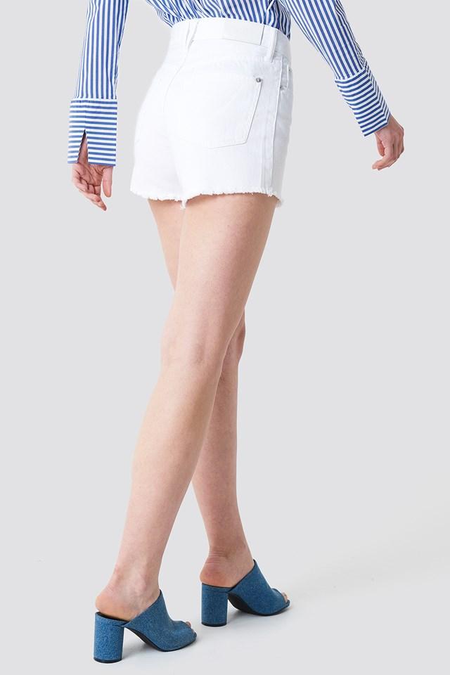 Frayed Denim Shorts White