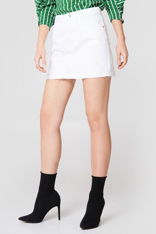 Spódnica jeansowa z surowym brzegiem White
