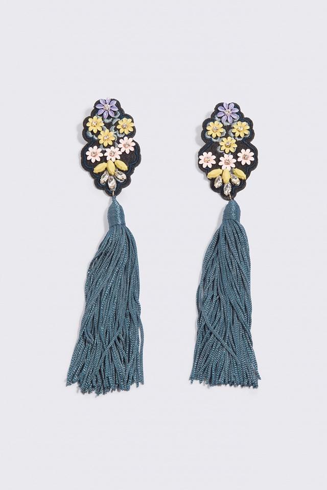 Fringe Beads Earrings Medium Blue