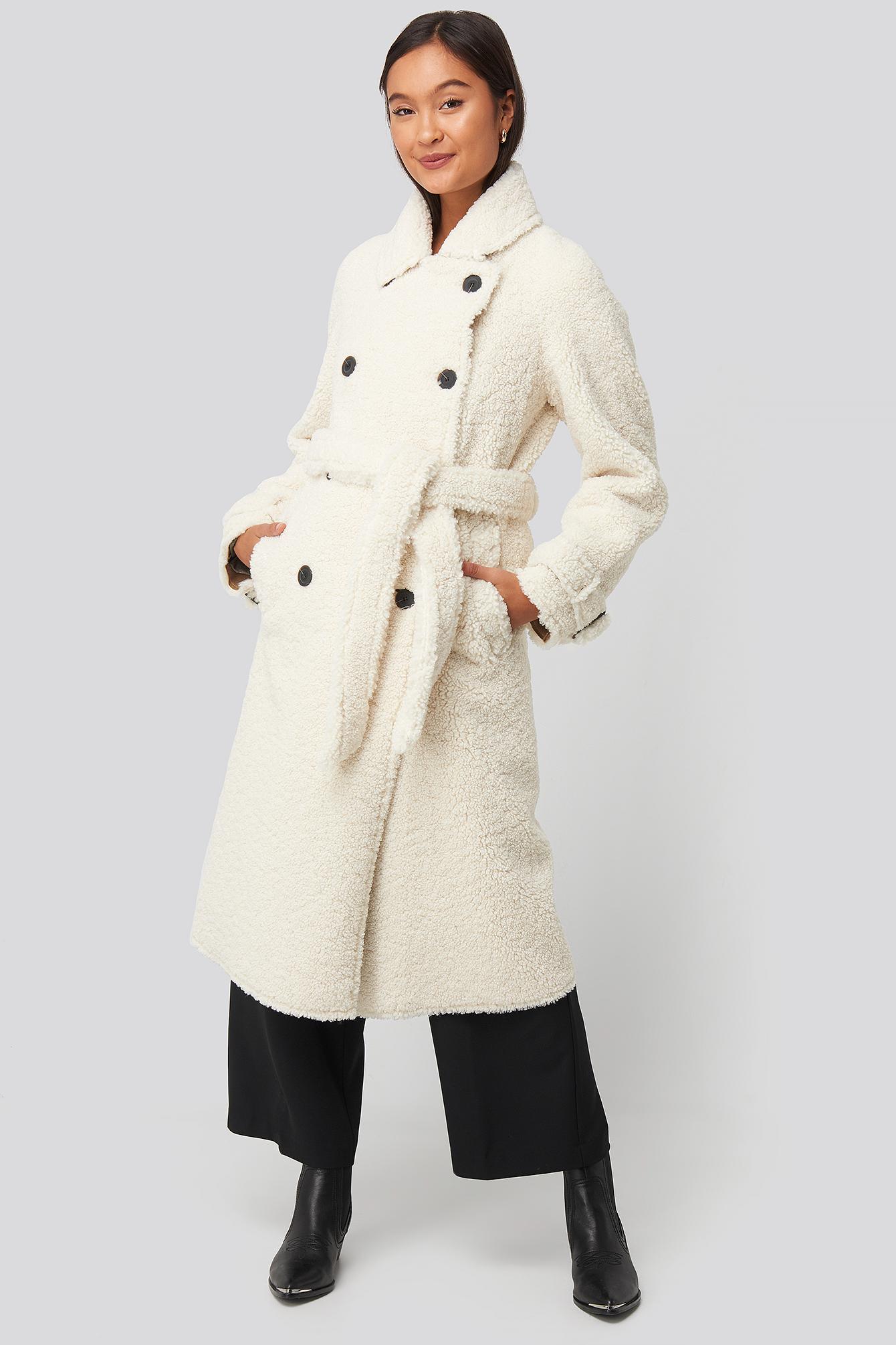 mango -  Fuzzy Coat - Beige