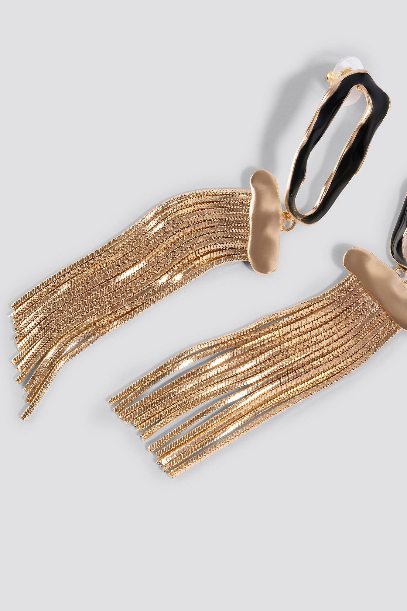 mango -  Glasgow Earrings - Black,Gold