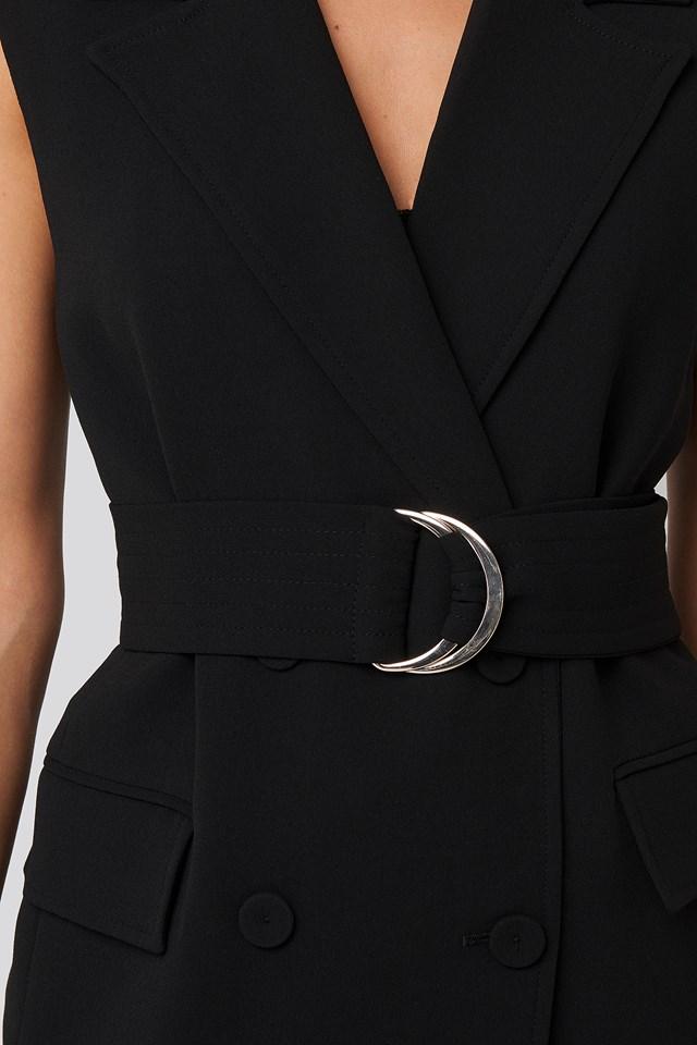Gold Waist Detailed Vest Black