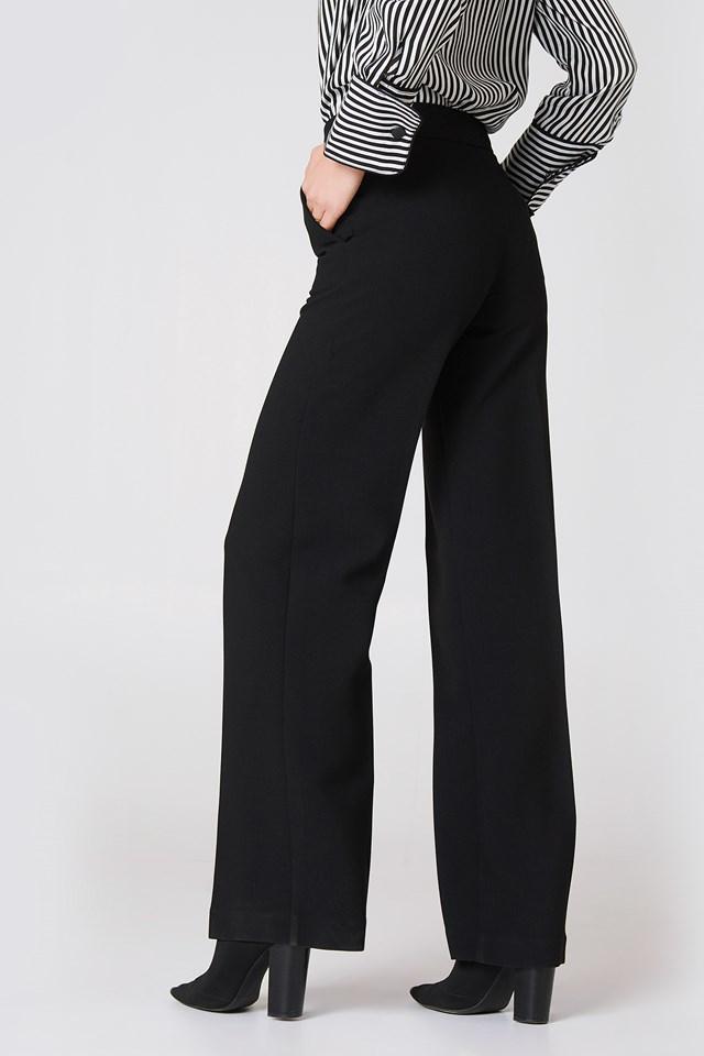 High-Waist Palazzo Trousers Black