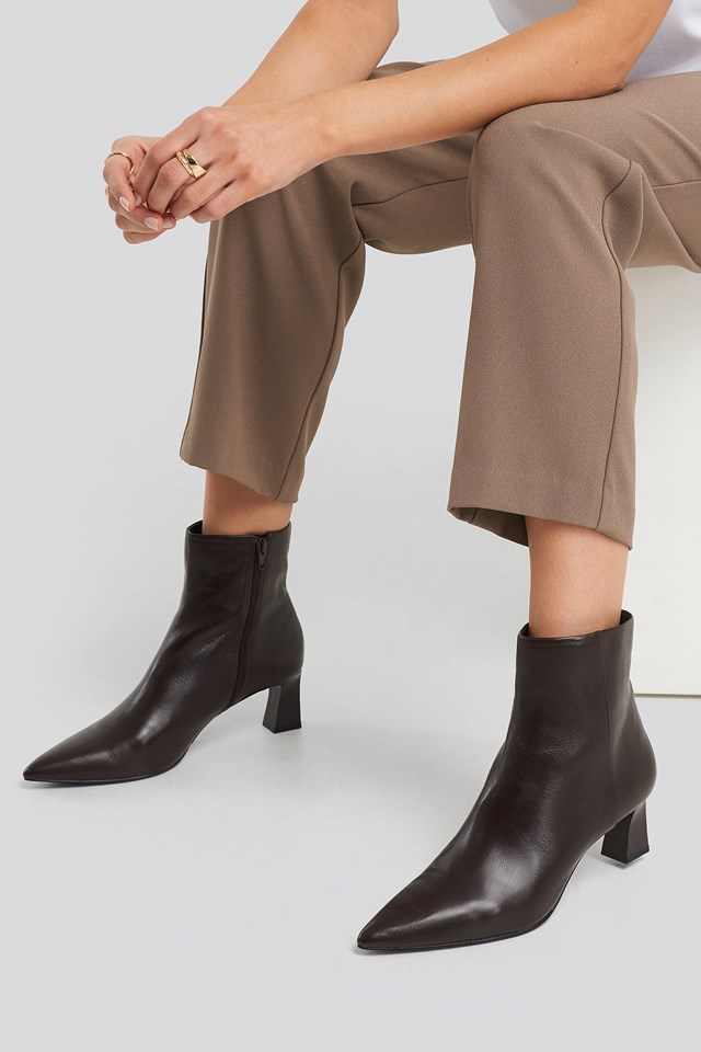 Inky Ankle Boots Chocolate