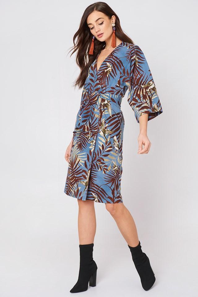 Leaf Print Dress Grey