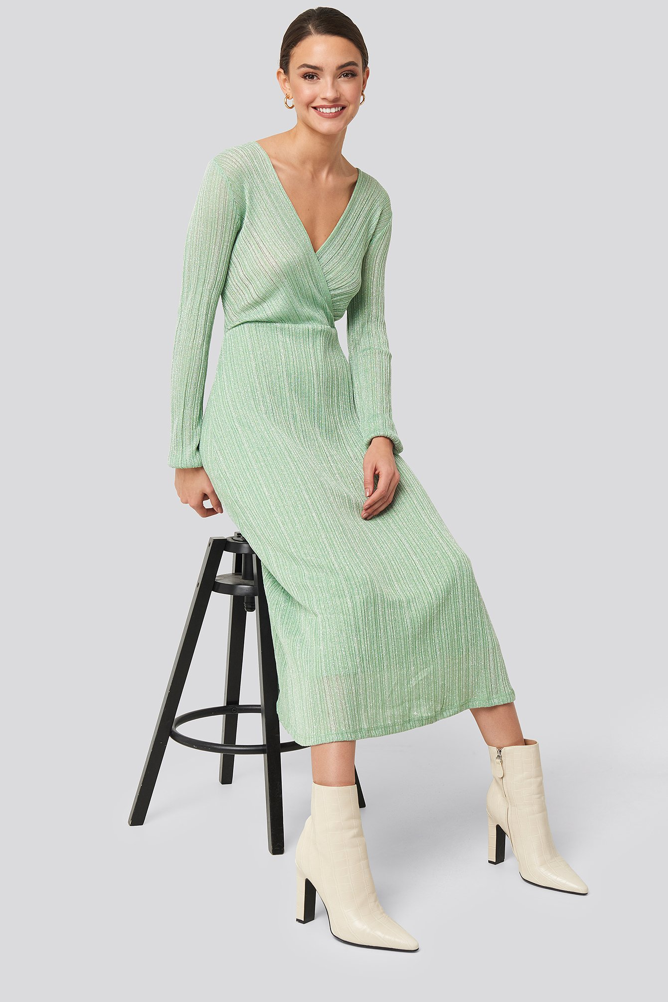 mango -  Lurex Dress - Green