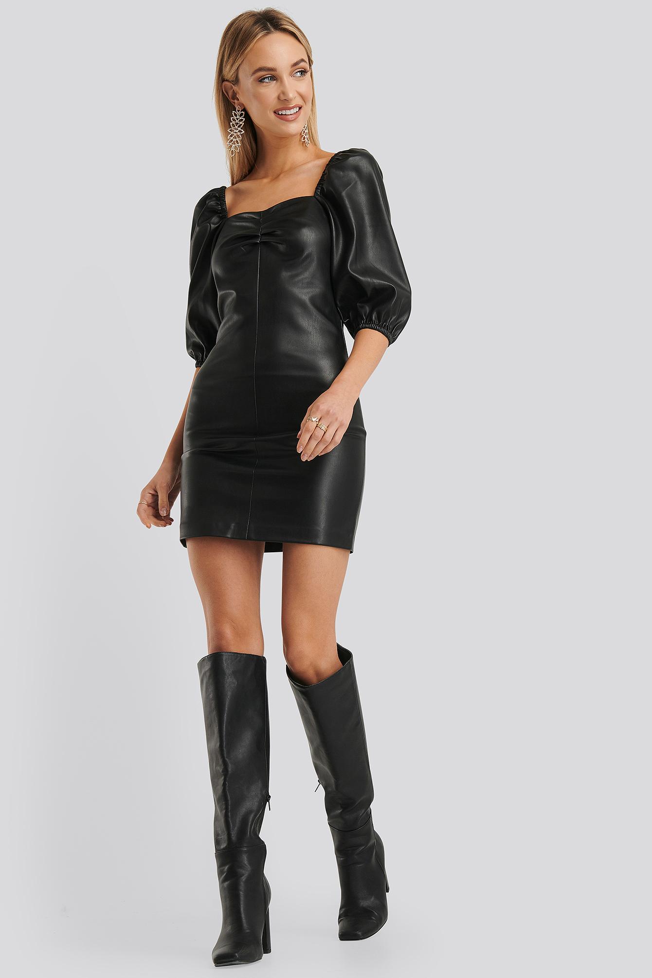 mango -  Mamita PU Dress - Black