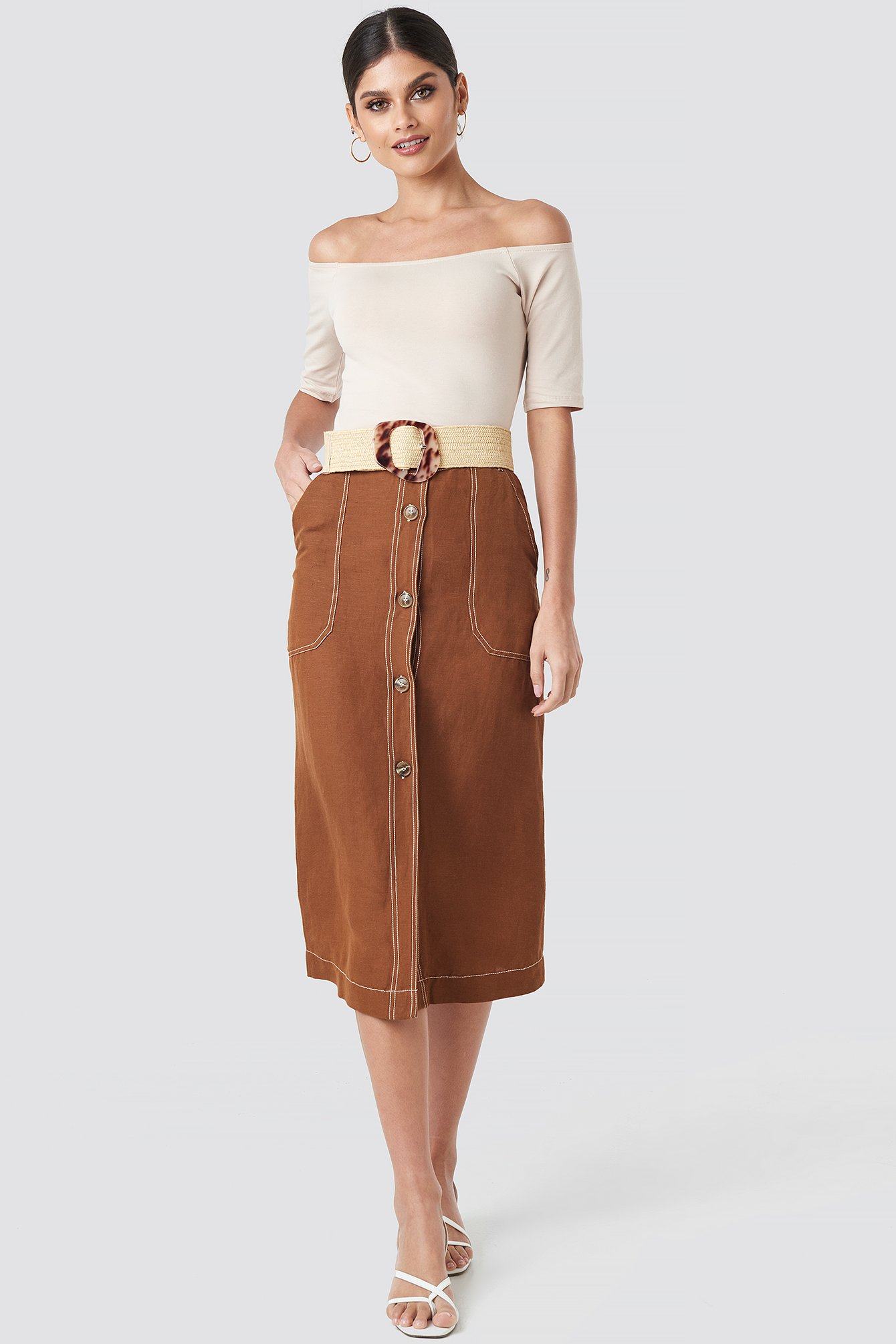 mango -  Meg Skirt - Brown