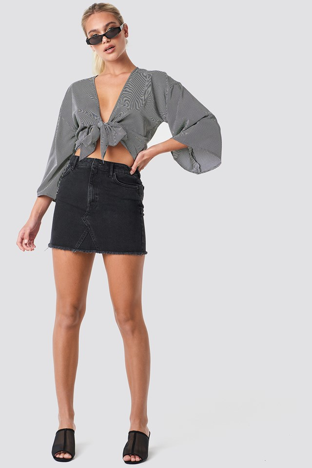 Musthave Denim Skirt Open Grey