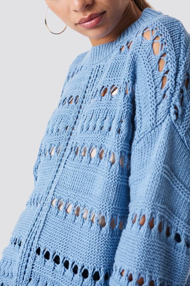 Open Work-Detail Sweater Blue