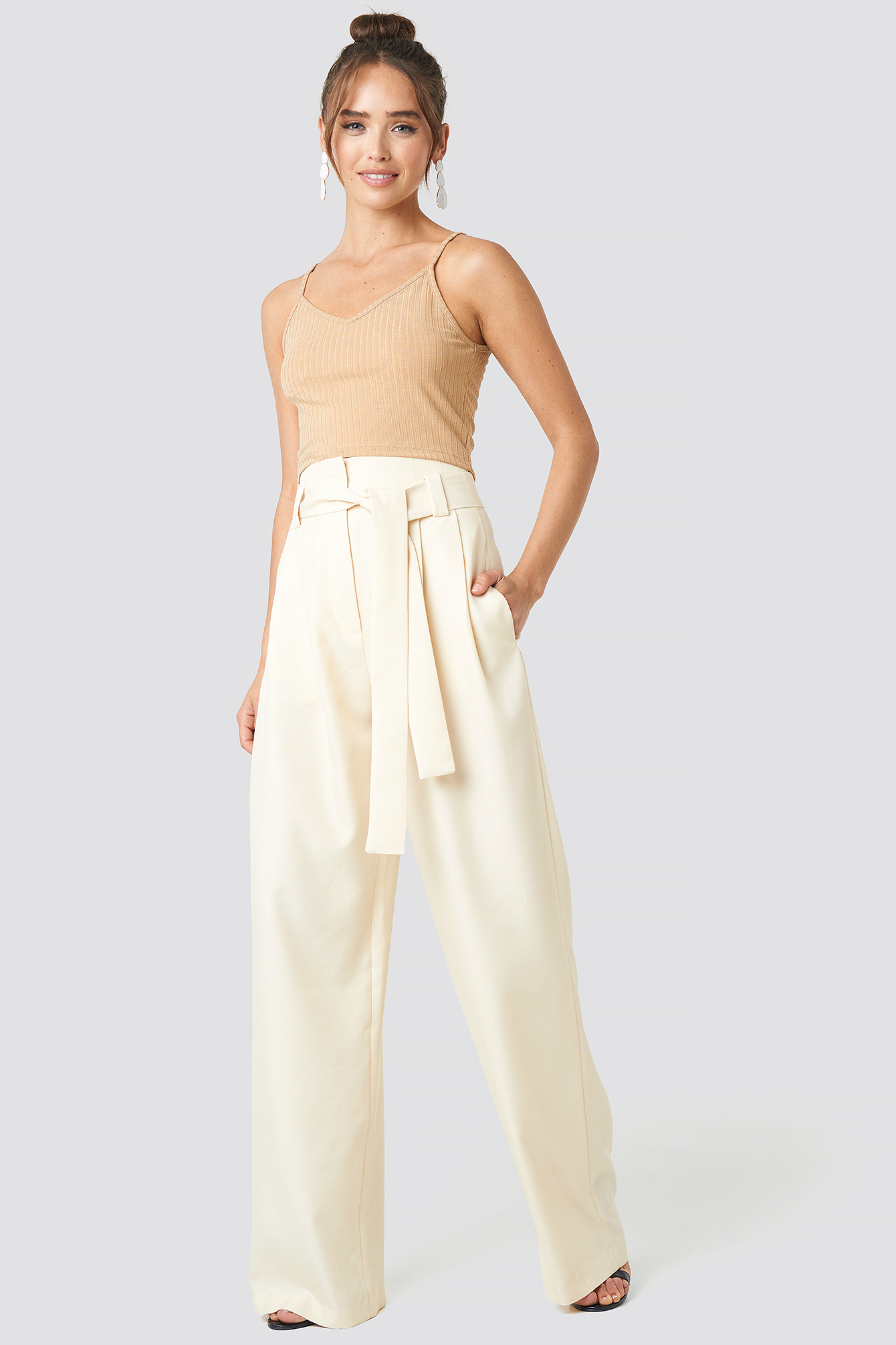 mango -  Paper Trousers - White