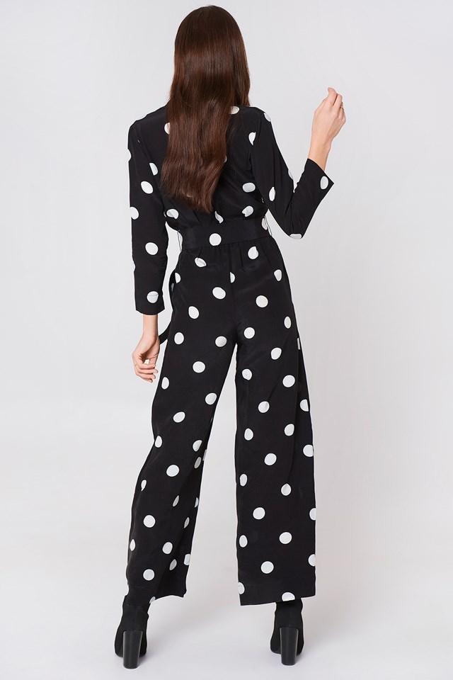 Polka-Dot Long Jumpsuit Black