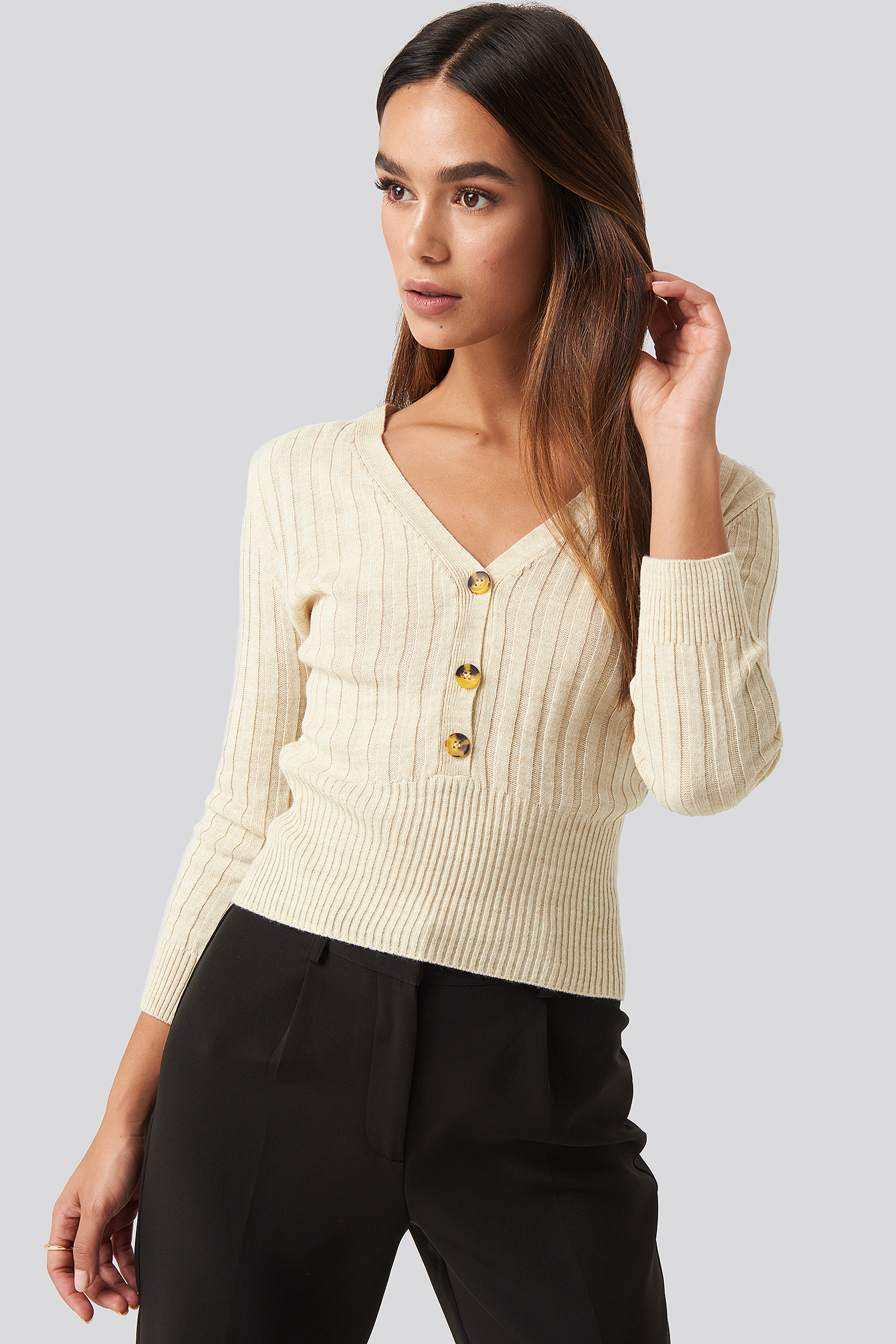 mango -  Ribetto Sweater - Beige