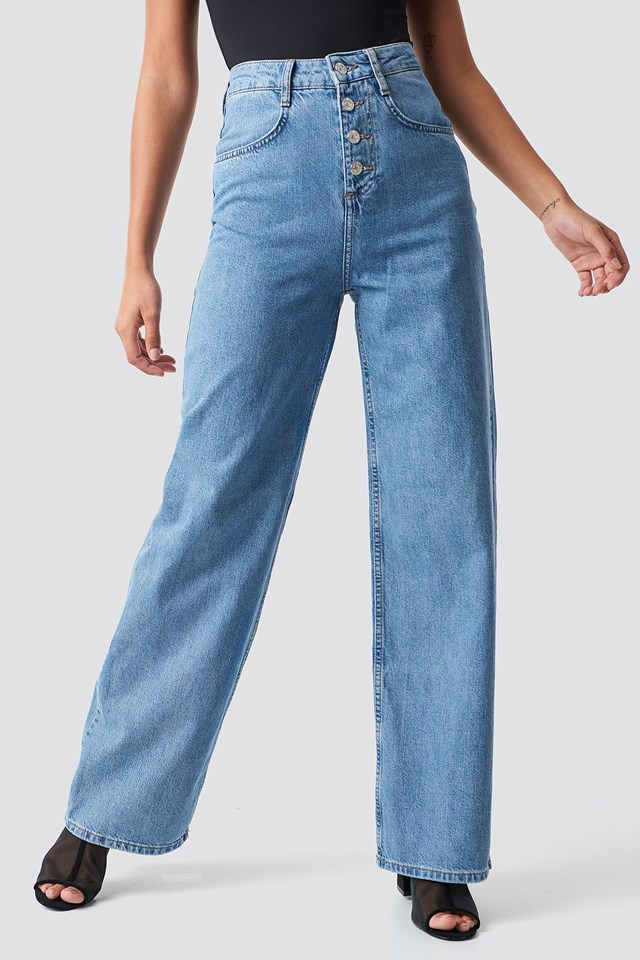 Romantic Wide Jeans Tejano Medio
