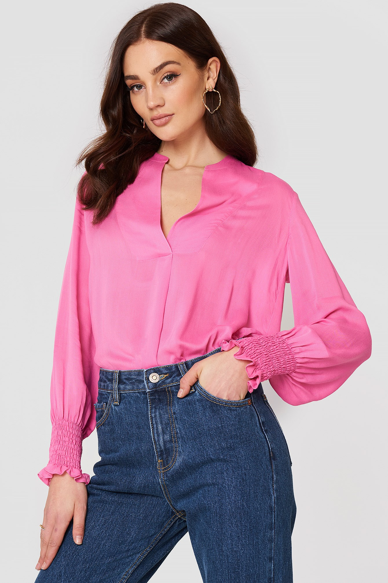 Ruched Sleeve Blouse NA-KD.COM