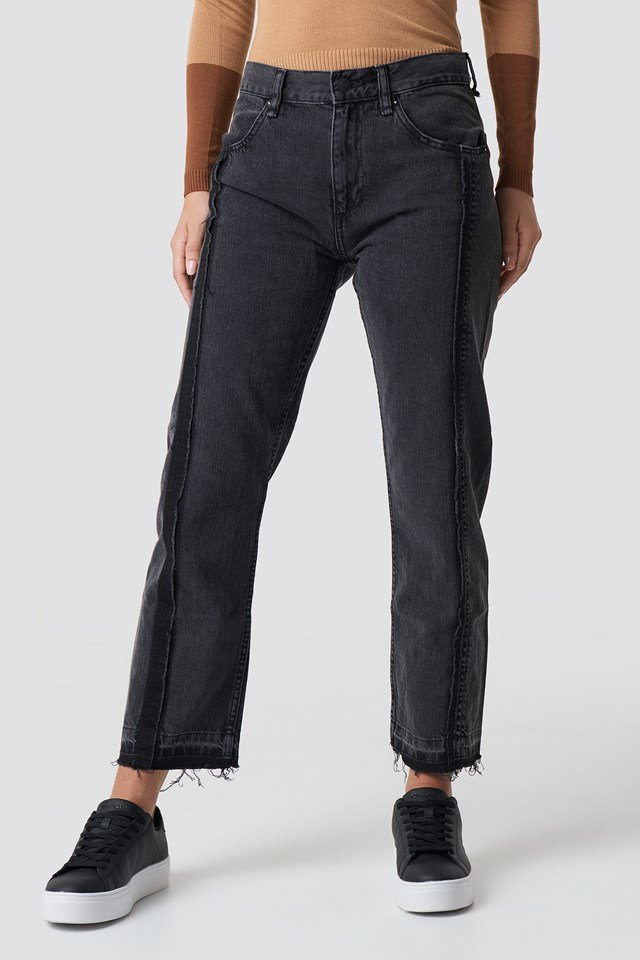 Straight Cropped Jeans Black Denim
