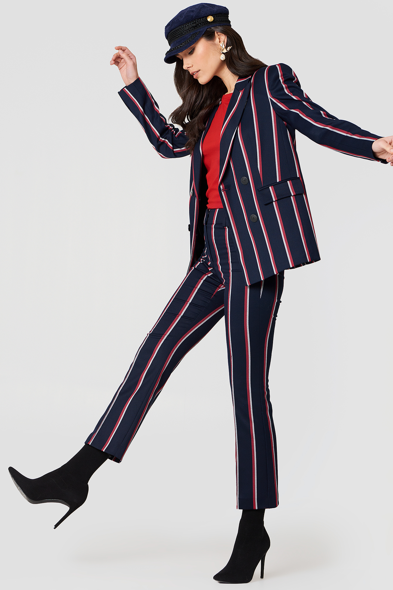 00066749c8 Straight Striped Trousers Navy