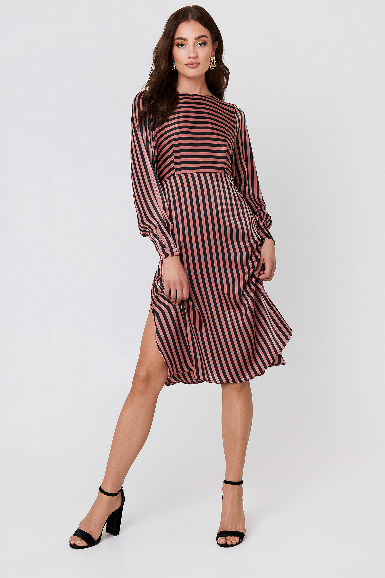 Striped Midi Dress NA-KD.COM