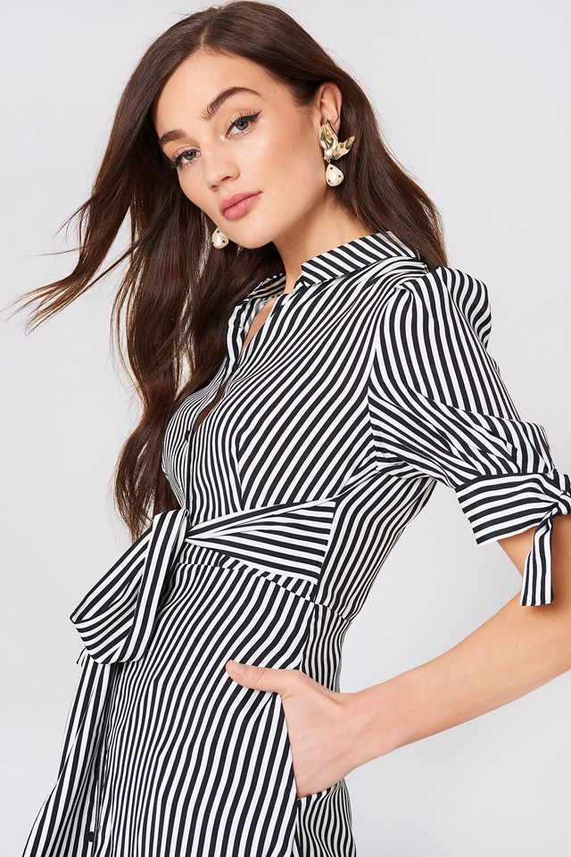 Striped Shirt Dress Natural White