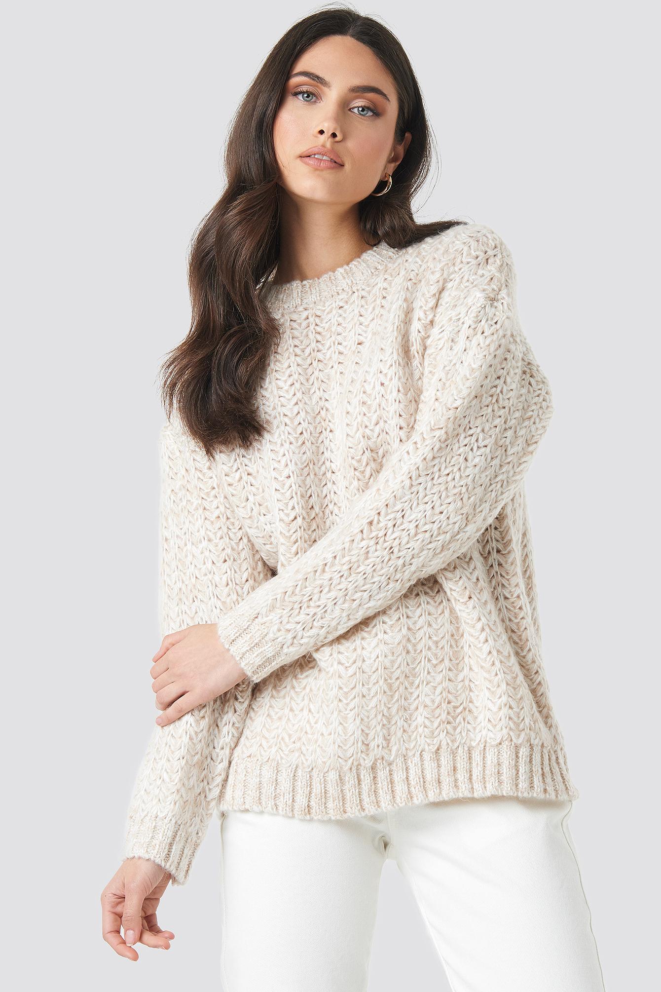 mango -  Tauro Sweater - White,Beige