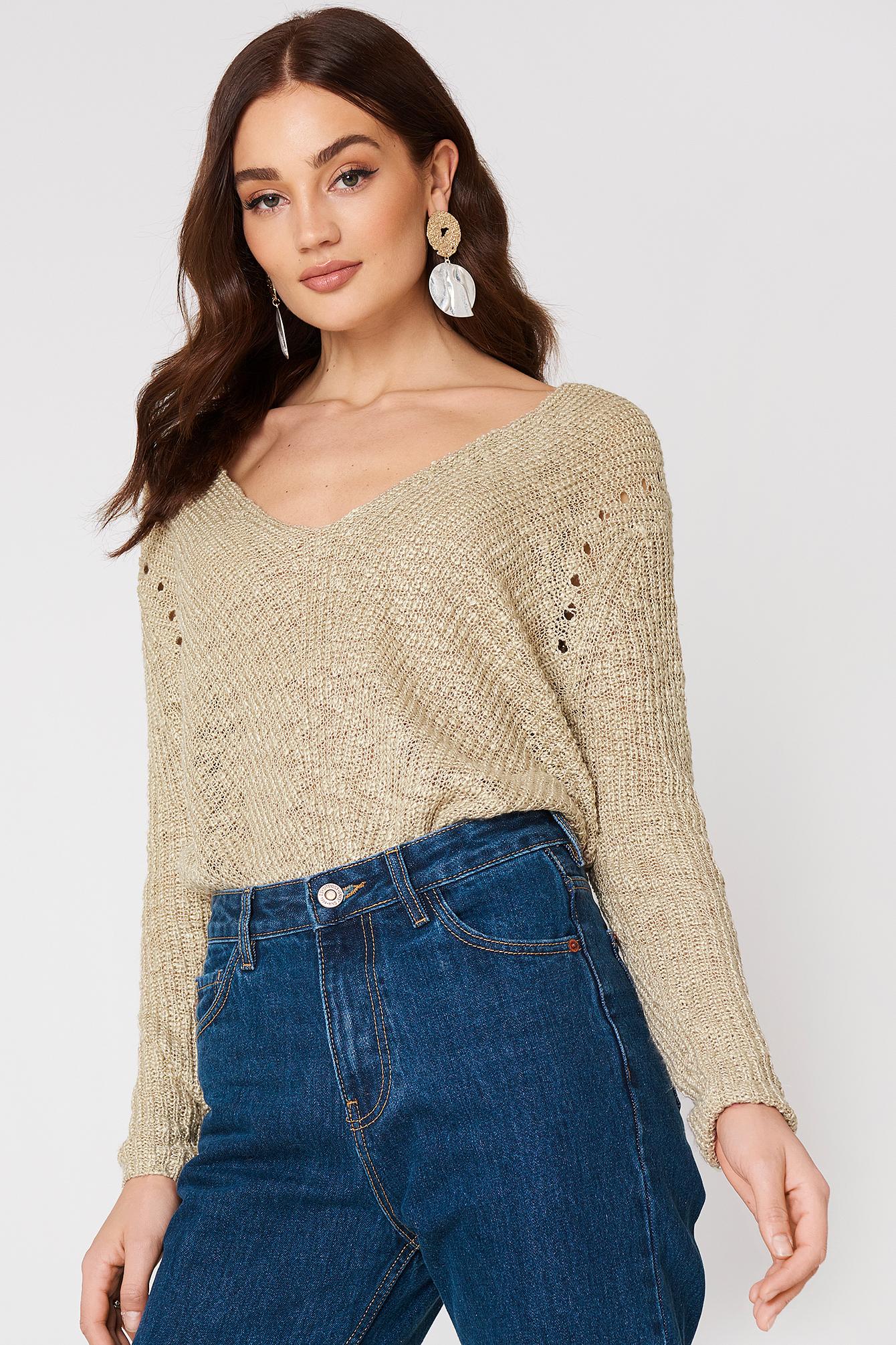 Sweter z dekoltem V NA-KD.COM