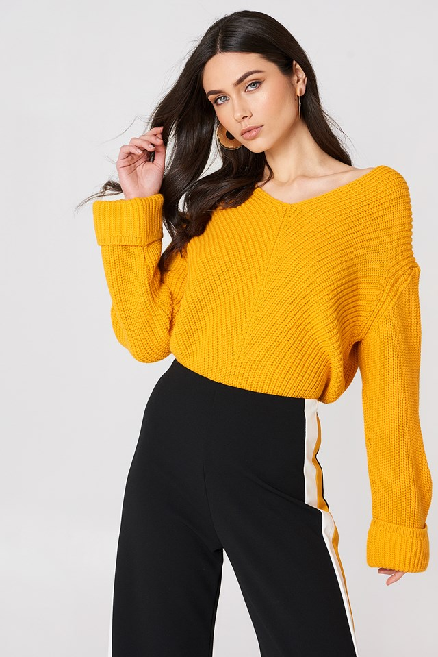 V-Neckline Sweater Dark Yellow