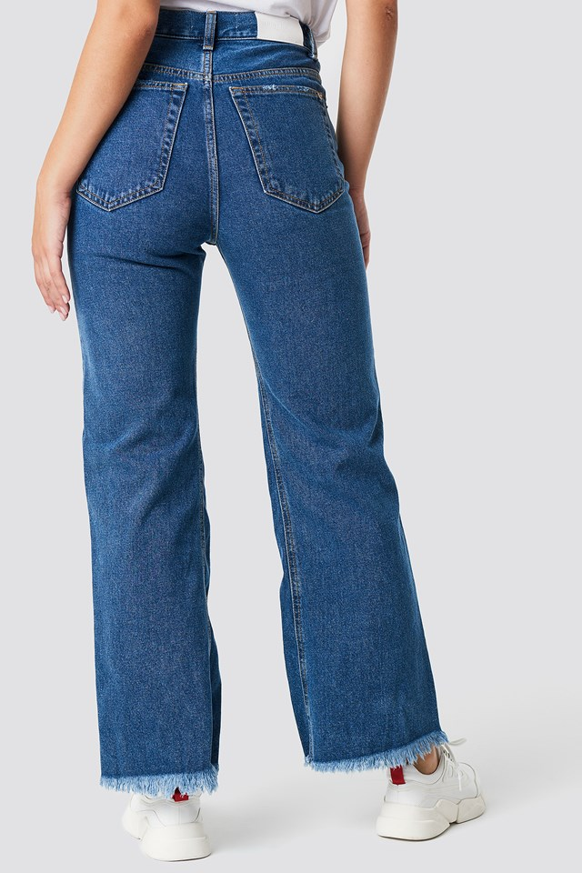 Vintage Ripped Jeans Open Blue