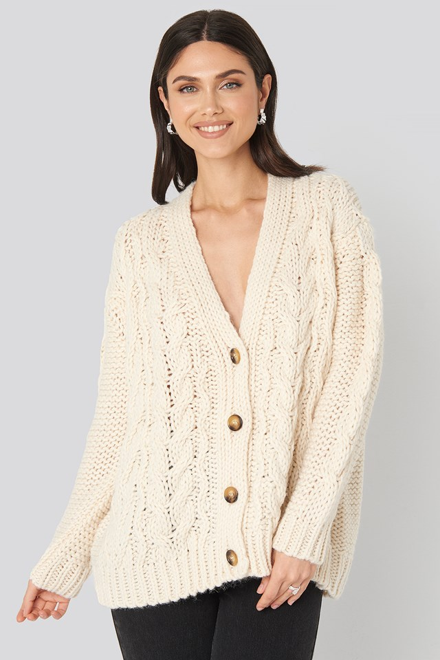 Yaya Cardigan Light Beige