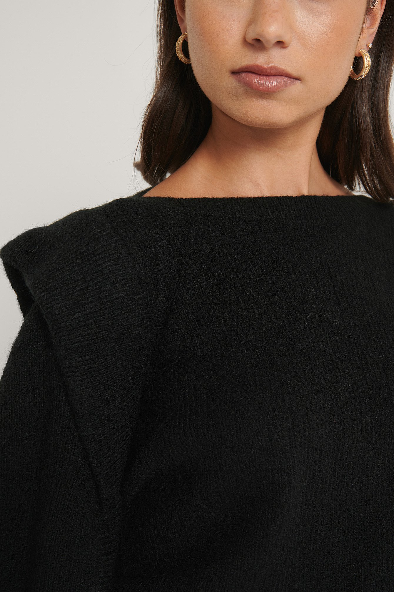 Black Wool Blend Volume Sleeve Knitted Sweater