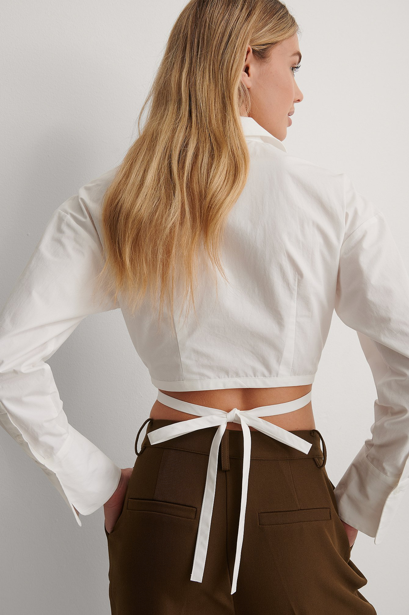 White Cropped Tie Waist Shirt