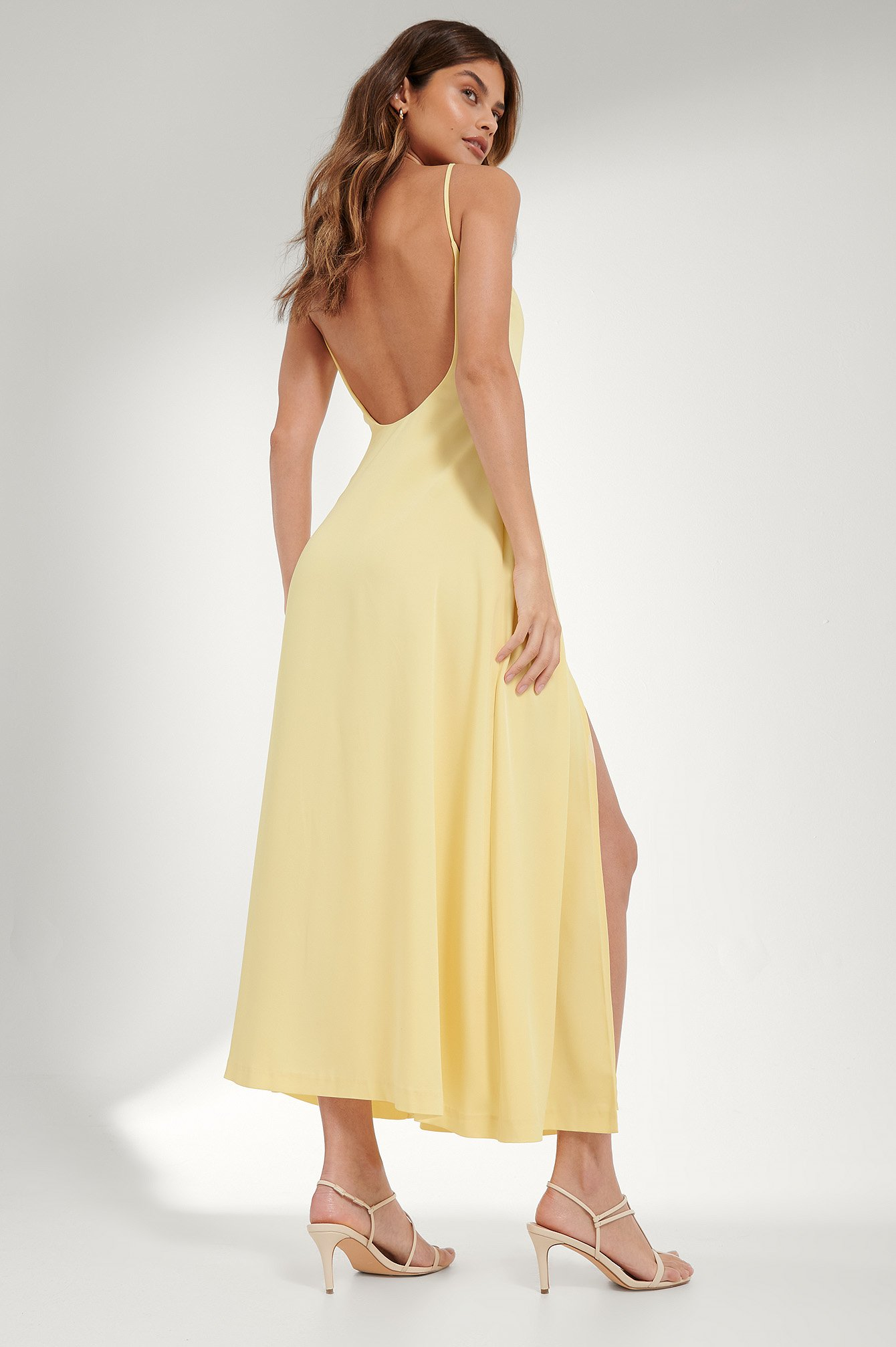Dusty Yellow Open Back Maxi Dress
