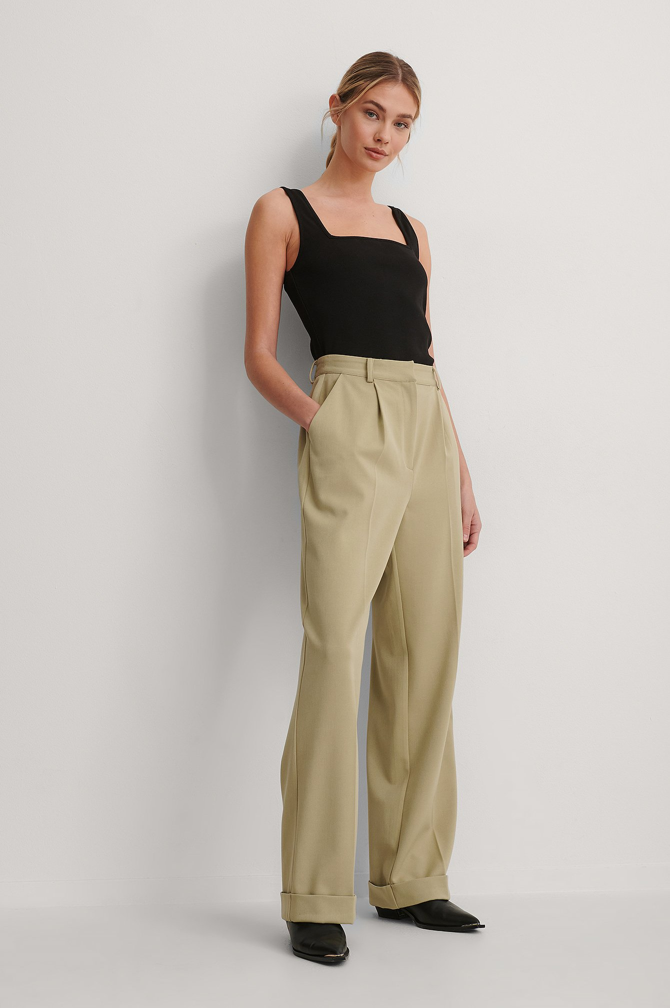 Khaki Pleat Suit Pants