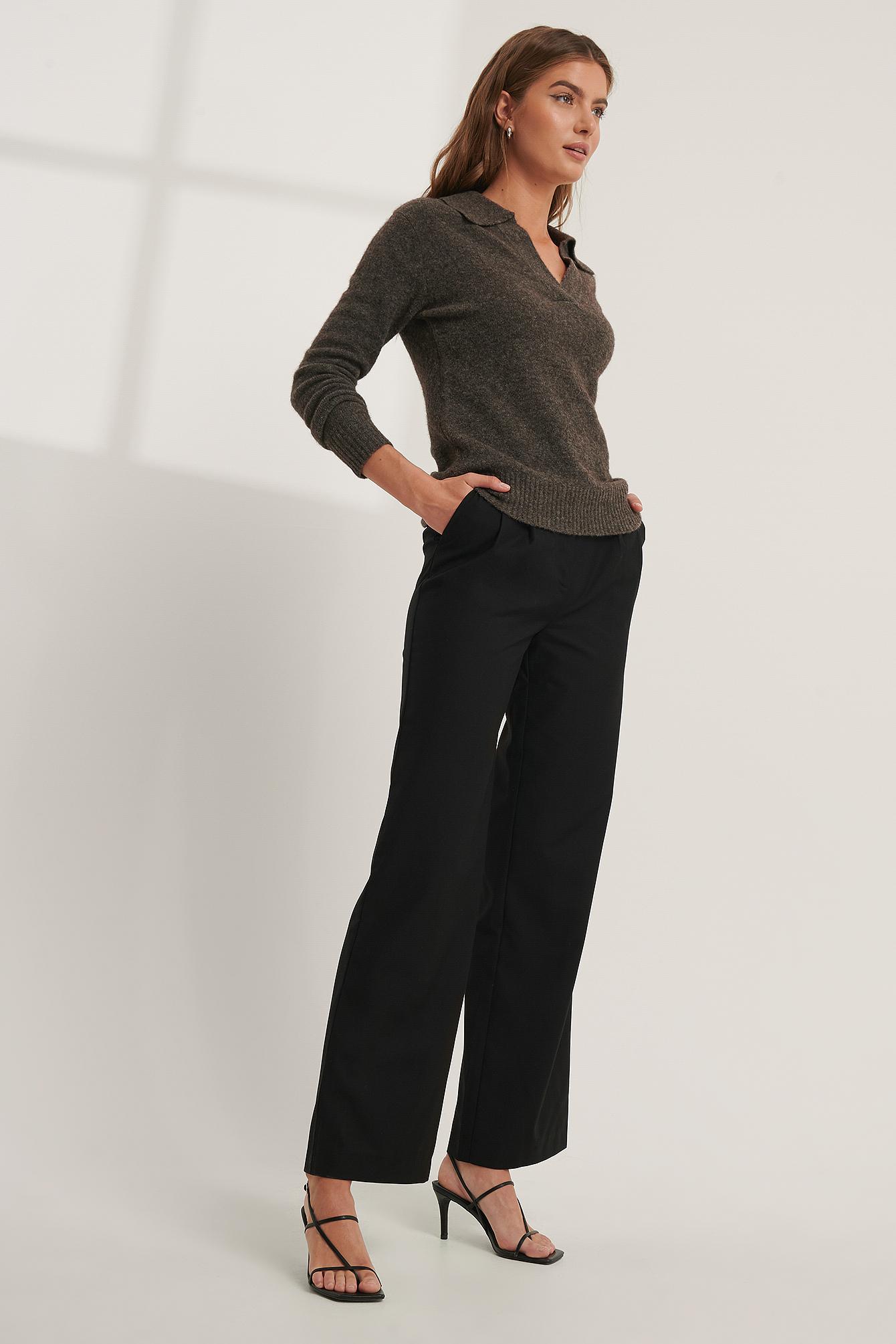 Mathilde Gøhler x NA-KD Anzughose Mit Faltendetail - Black | Bekleidung > Hosen > Anzughosen | Mathilde Gøhler x NA-KD