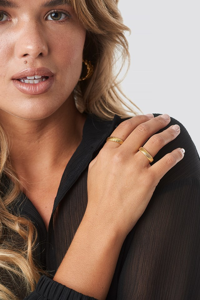 Structured Ring 2-pack Gold