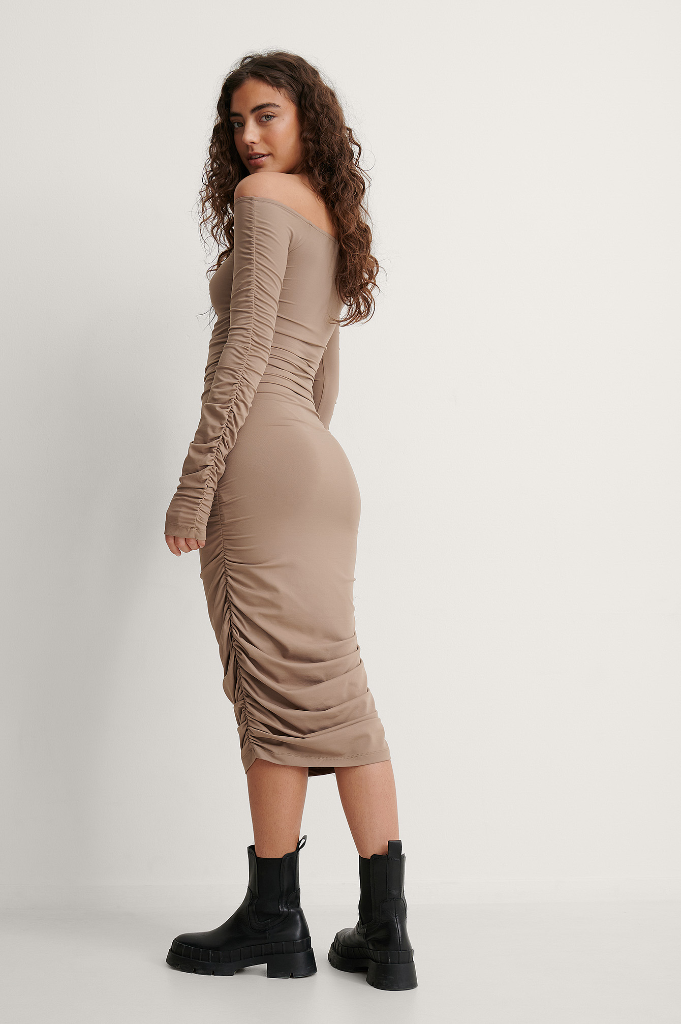 Brown Off Shoulder Ruched Dress