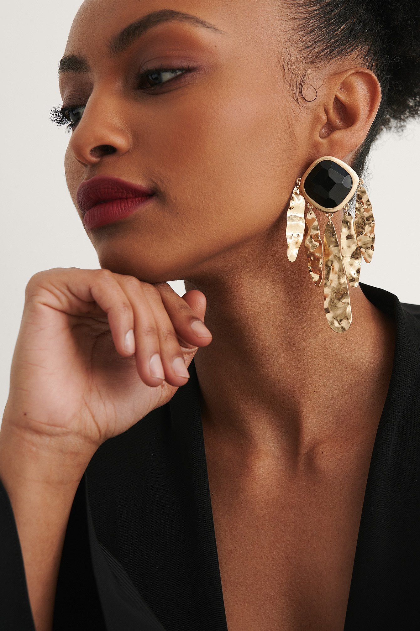 Gold Messy Oversize Earrings