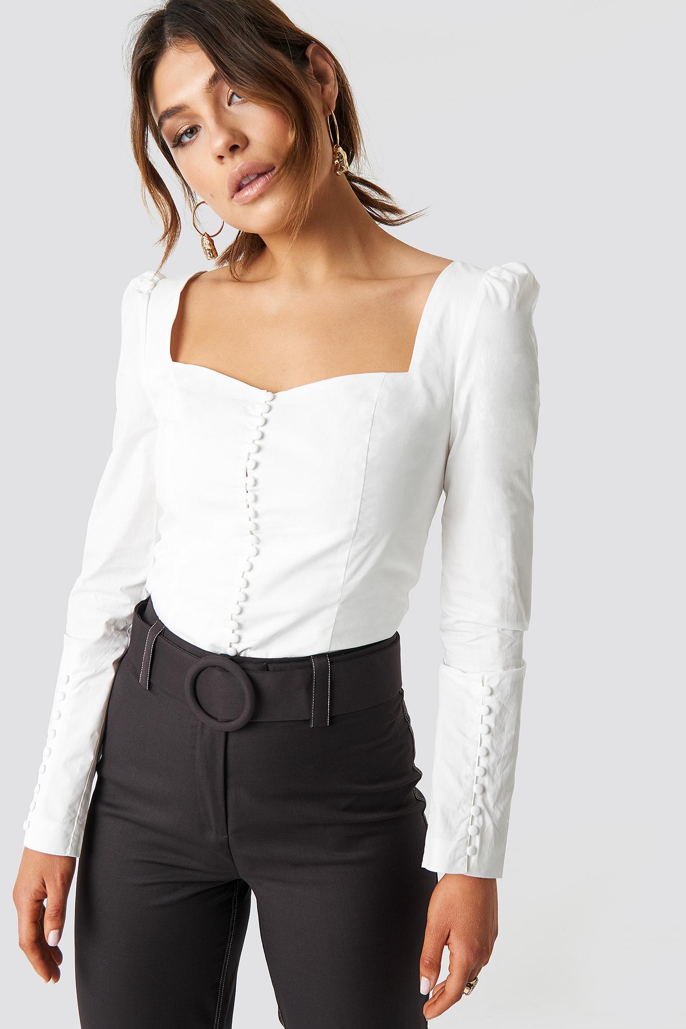 milena karl x na-kd -  Buttons Squared Blouse - White