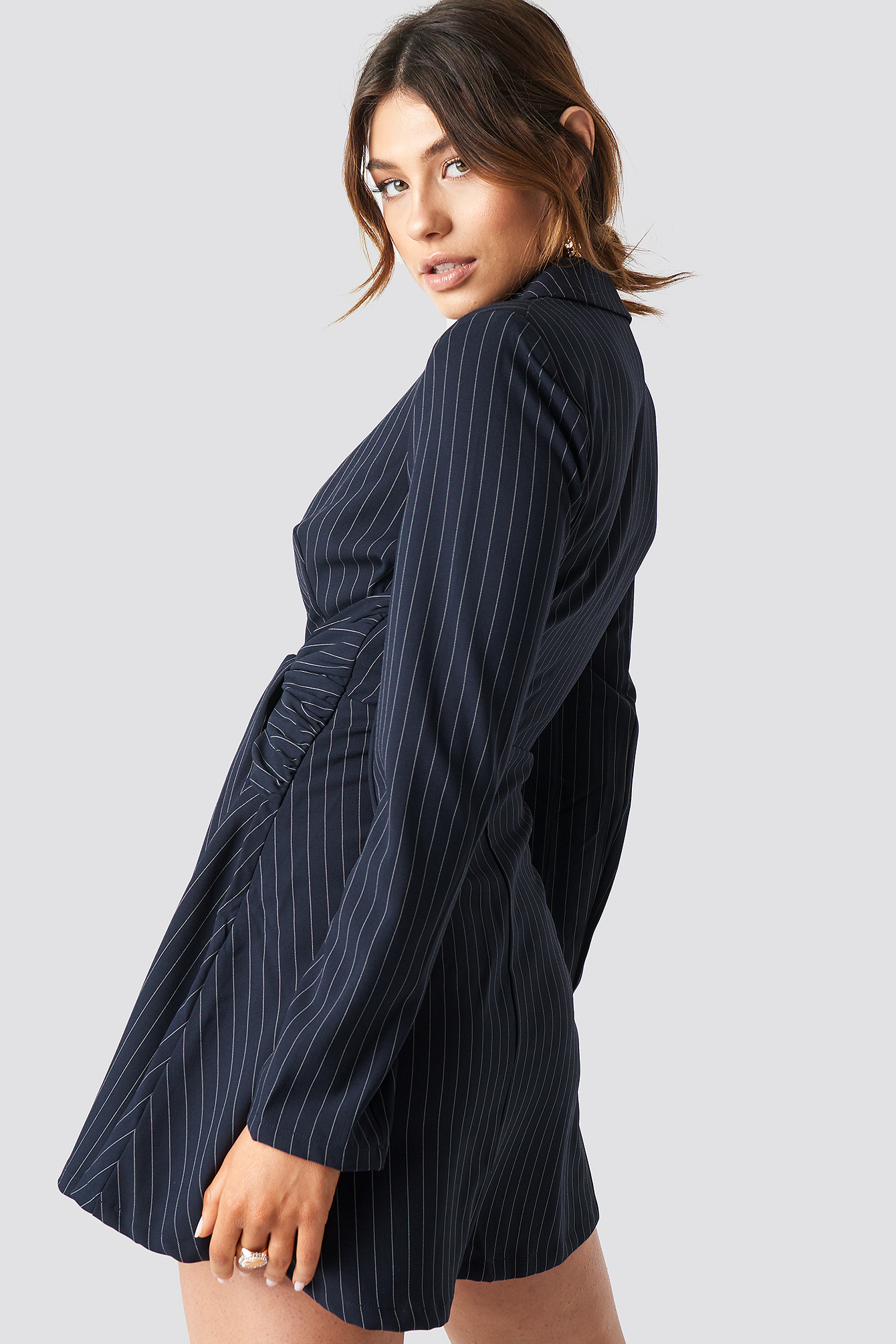 Pinstripe Knot Mini Dress NA-KD.COM