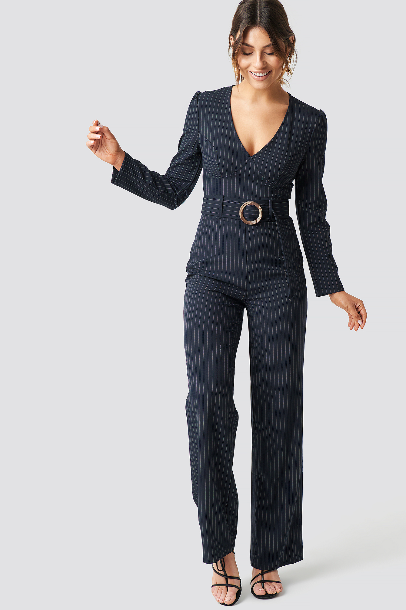 milena karl x na-kd -  Pinstriped Flared Jumpsuit - Blue