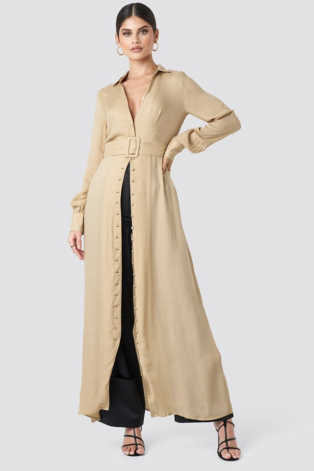 Belted Maxi Dress Beige