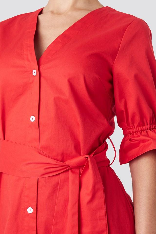 Deep V-neck Mini Dress Red