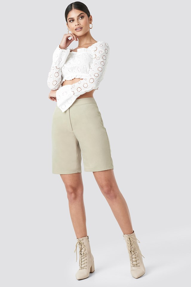 Flared Cuff Cropped Top White