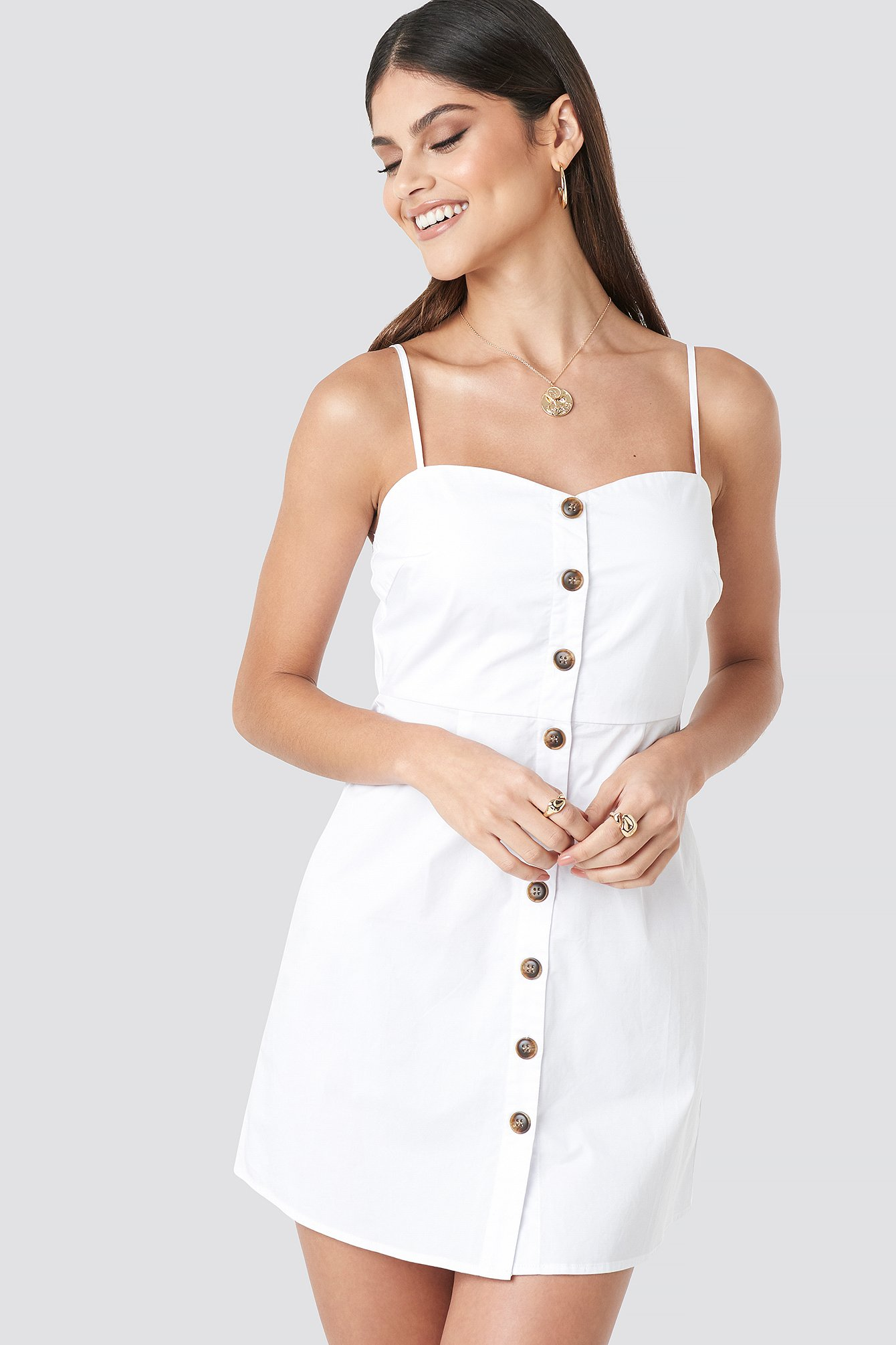milena karl x na-kd -  Strap Mini Cotton Dress - White