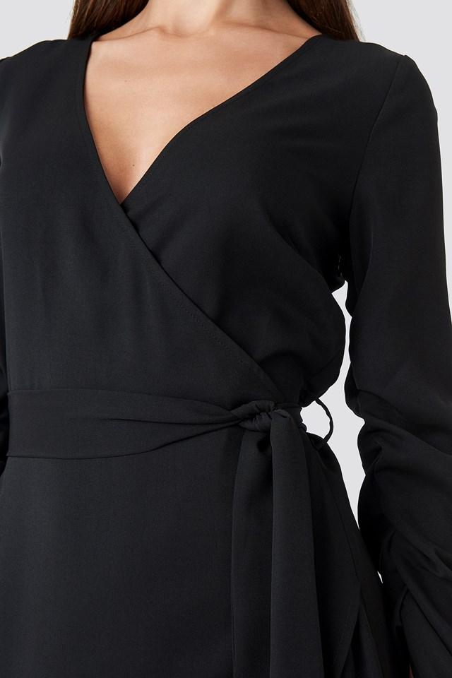 Wrapped Mini Dress Black